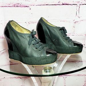 Dries Van Noten Canvas Lace Up Sneaker Wedge